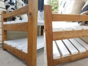 Outdoor Garden Bench for Seed Trays, Farmhouse Style. Provincial Stain on Pine