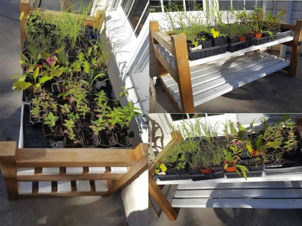 Outdoor Garden Bench for Seed Trays, Farmhouse style