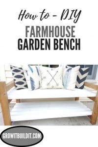 DIY Outdoor Farmhouse Garden Bench Front View Pinterest