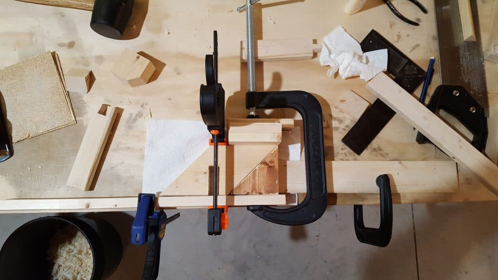 Glue miter box to bracket