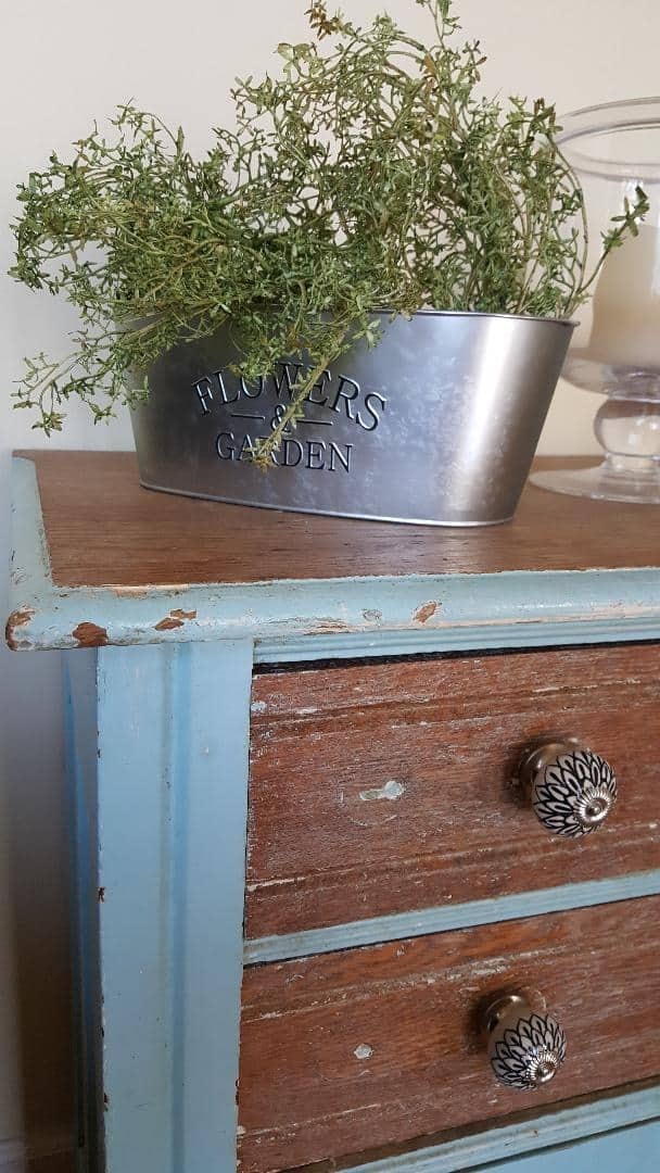 Farmhouse Galvanized Metal Bucket with Greenery & Vintage Chippy Dresser