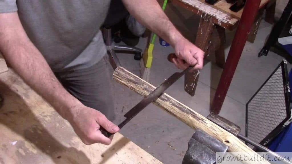 shaping the shaft with draw knife