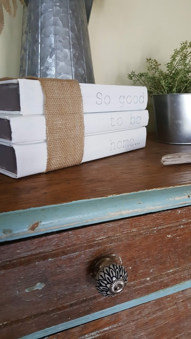 painted book stack farmhouse decor diy