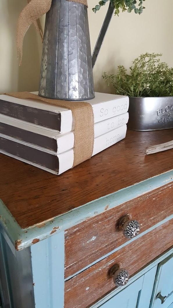 painted book stack farmhouse decor diy