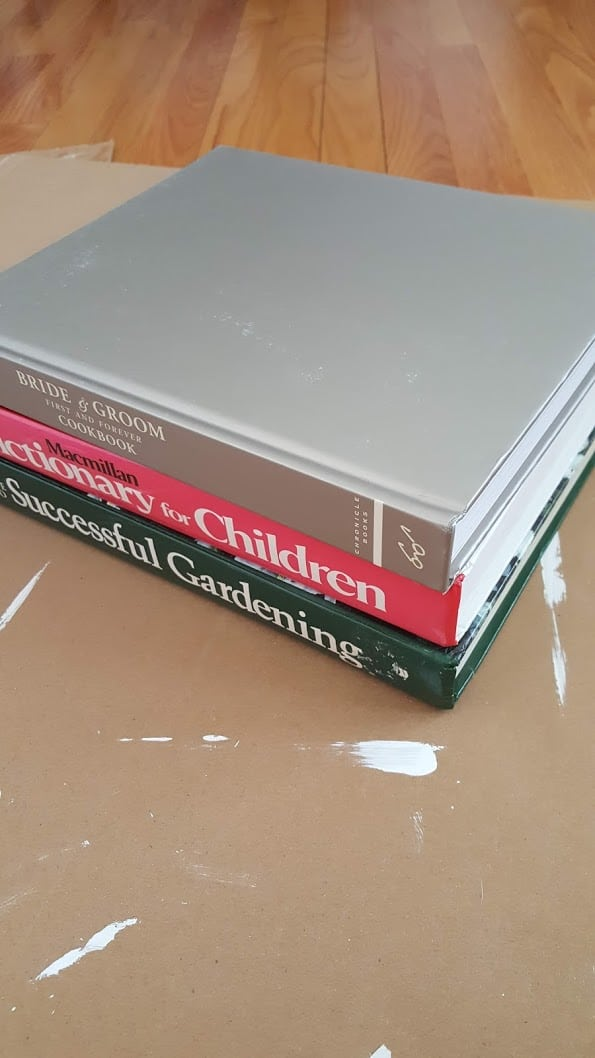 hardback books for painted book stack diy