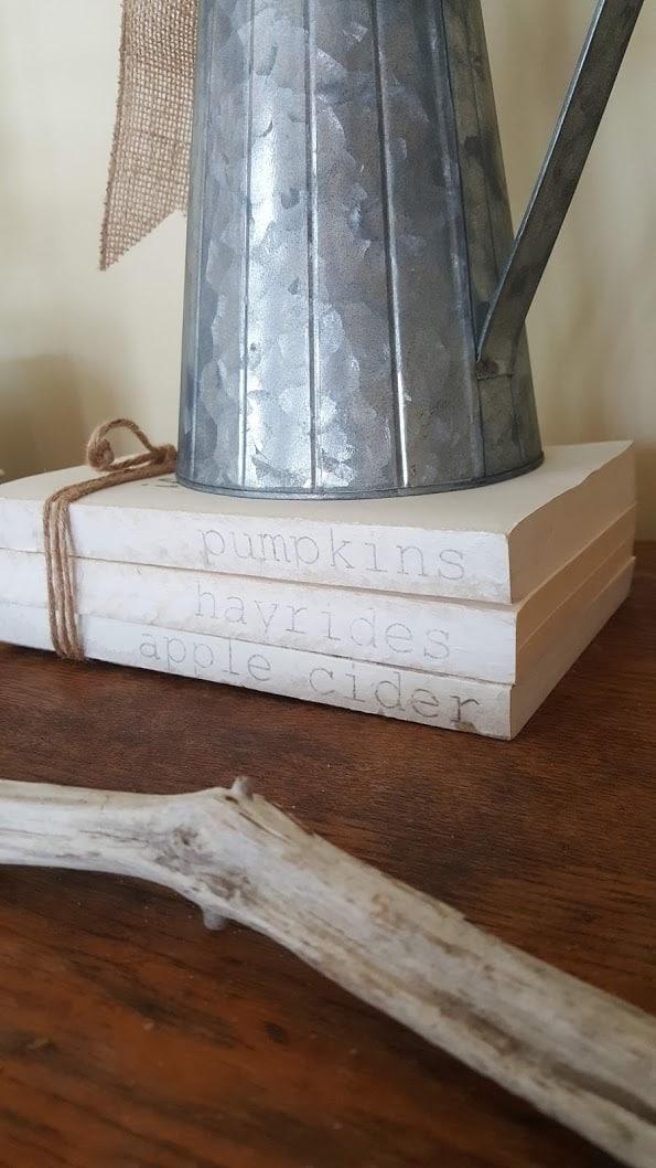 stamped book stacks farmhouse decor diy