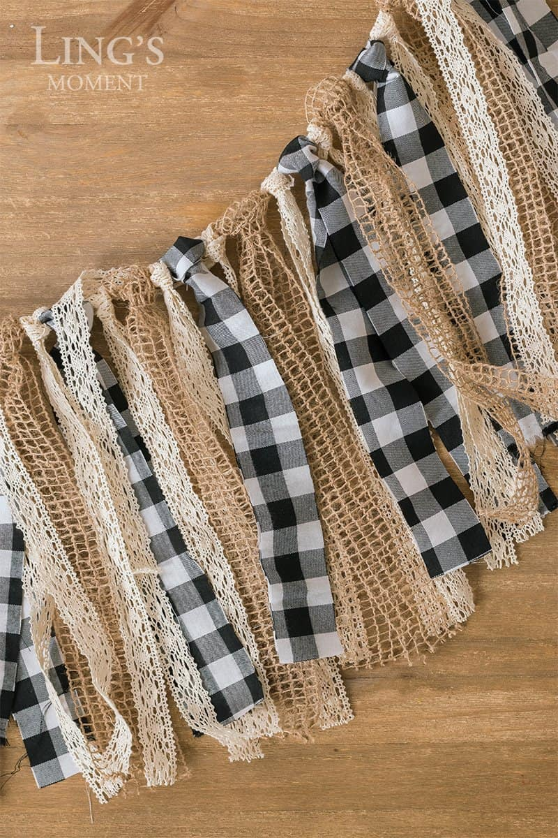 buffalo check burlap lace garland