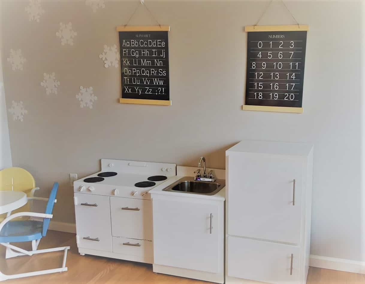 vintage inspired playroom and kitchen sw agreeable grey