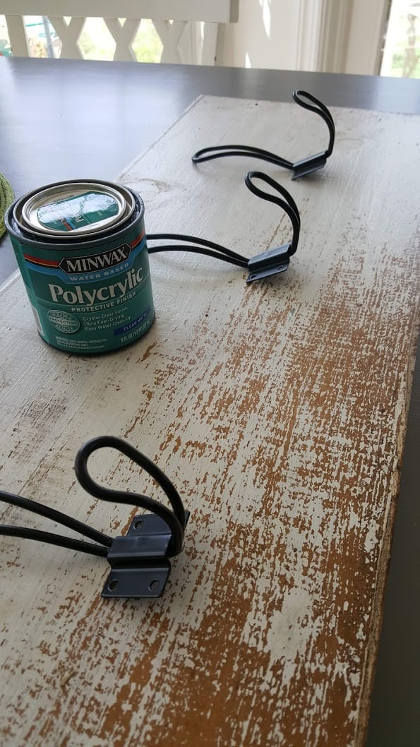 polycrylic to seal vintage board for farmhouse coat rack