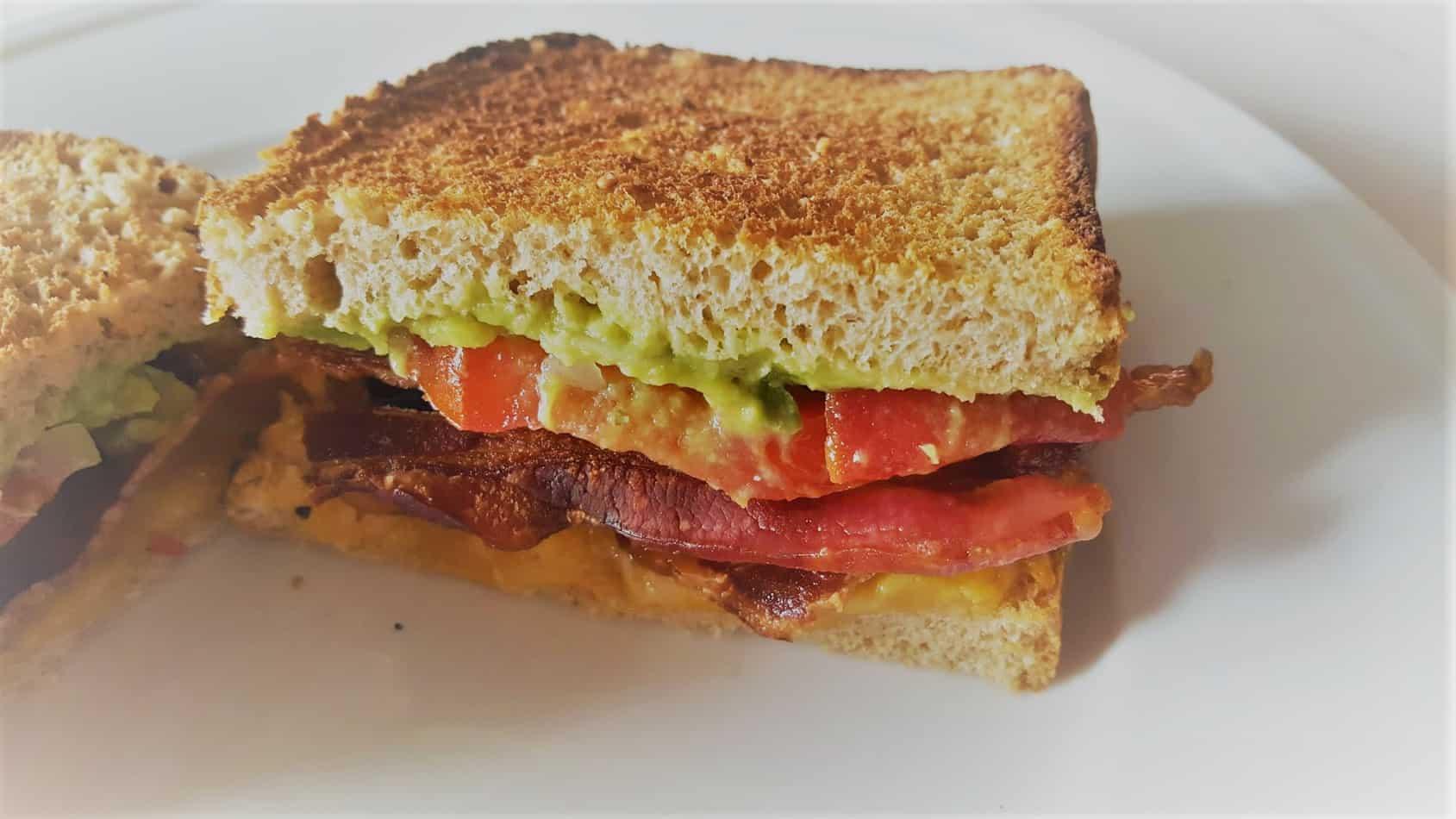 bacon guacamole tomato sandwich