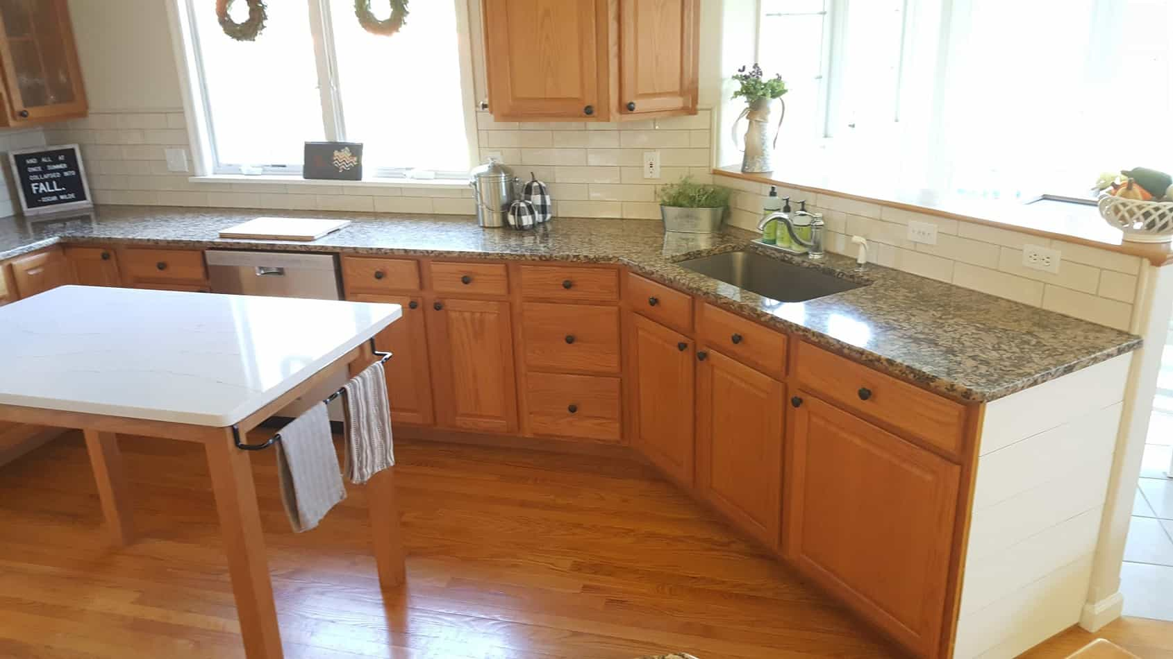 removable shiplap DIY update kitchen with oak cabinets without painting cabinets