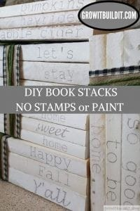 DIY book stack without stamps or paint