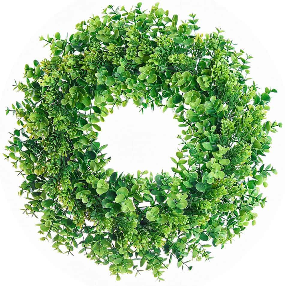 17 in faux eucalyptus and boxwood wreath