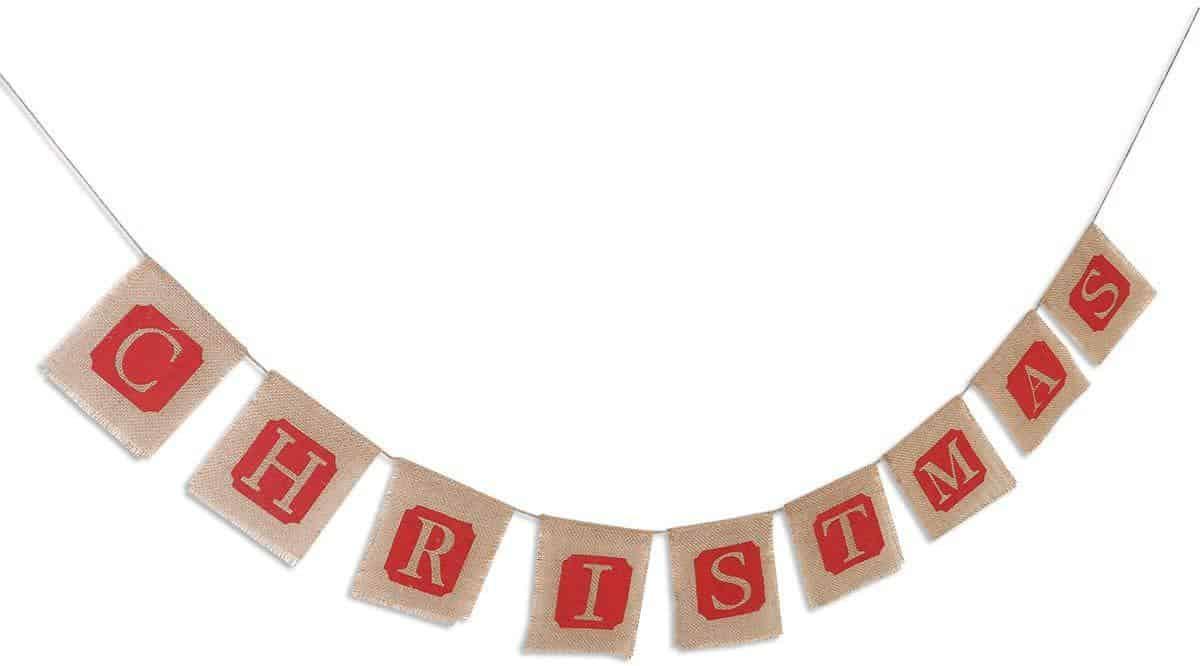 Merry Christmas Jute Banner