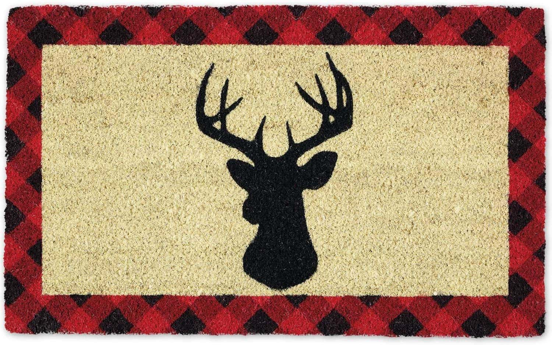 holiday stag buffalo check doormat