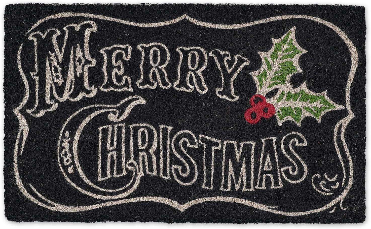 chalkboard merry christmas doormat