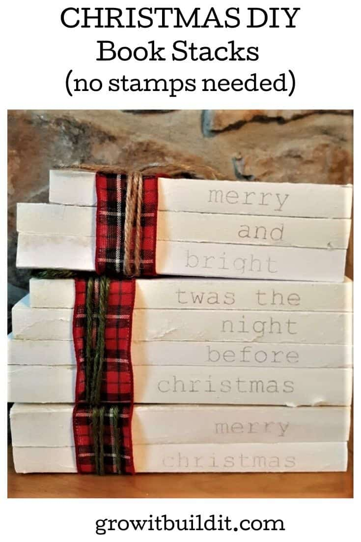 Christmas book stack DIY