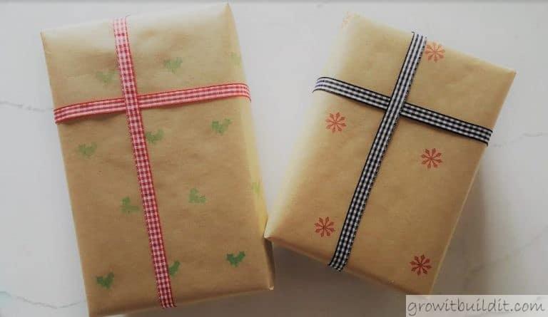 Dollar Store Hack - Faux Stenciled Farmhouse Gift Wrap DIY
