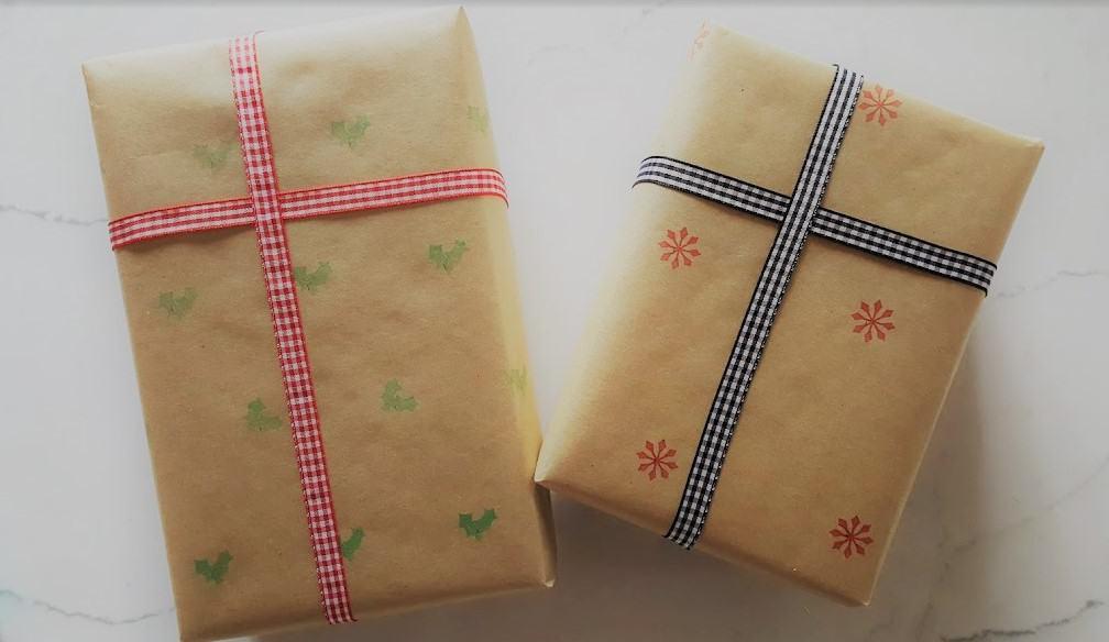 Dollar Store Hack Farmhouse Faux Stenciled Christmas Wrap DIY