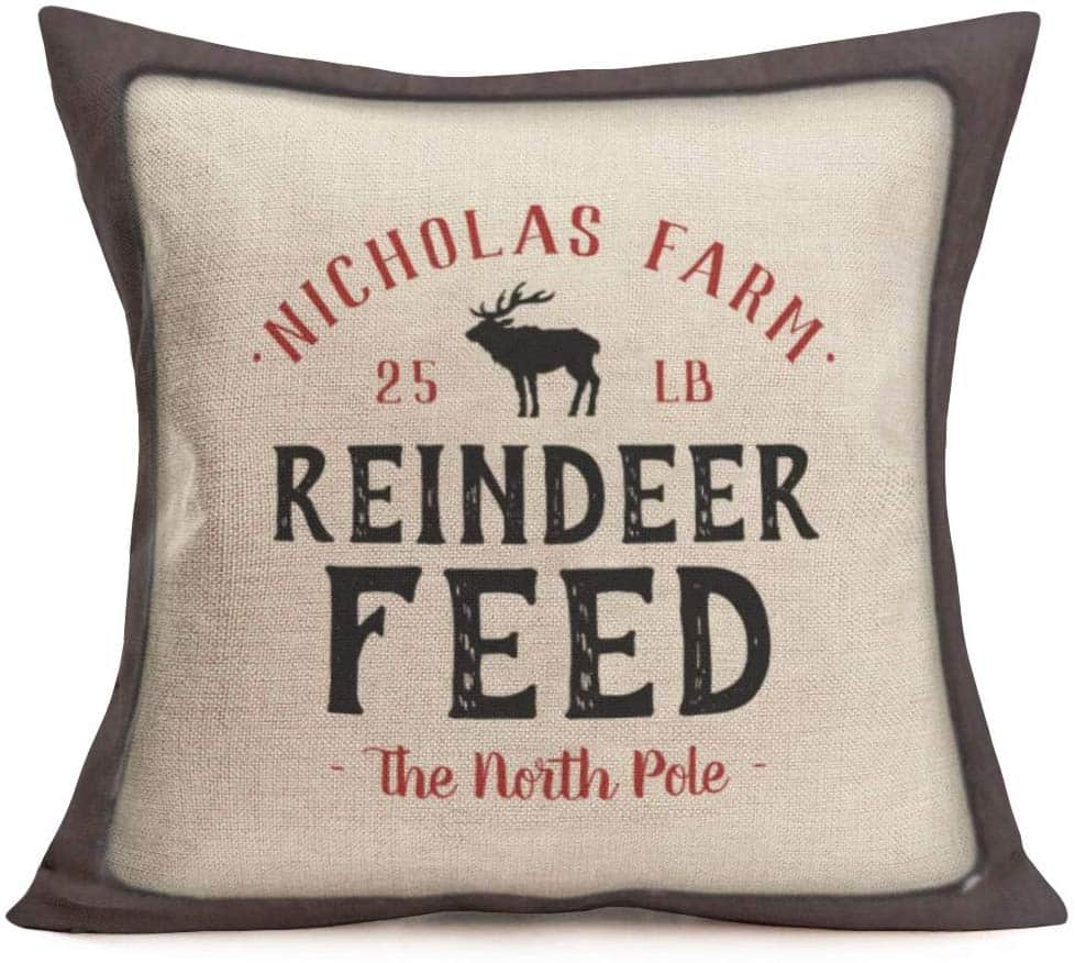 Reindeer Feed  Farmhouse Pillow Cover Amazon