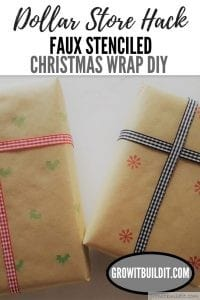 FAUX Stenciled Farmhouse Christmas Gift Wrap DIY - Dollar Store Hack