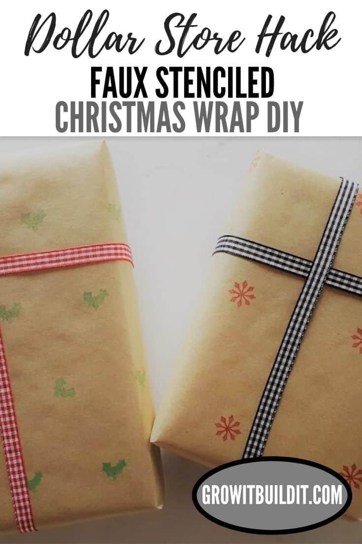 FAUX Stenciled Farmhouse Christmas Gift Wrap DIY - Dollar Store Hack