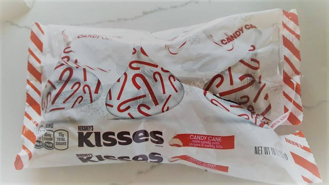 Peppermint Pom Pretzel Bites - Candy Cane Hershey Kisses