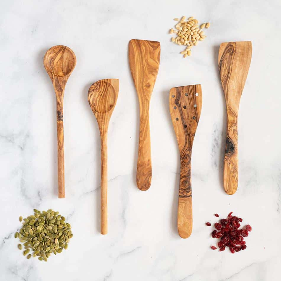 olive wood utensil set