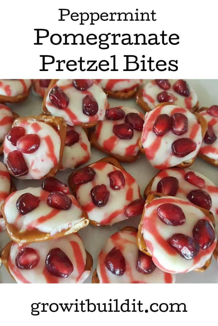 Peppermint Pomegranate Pretzel Bites