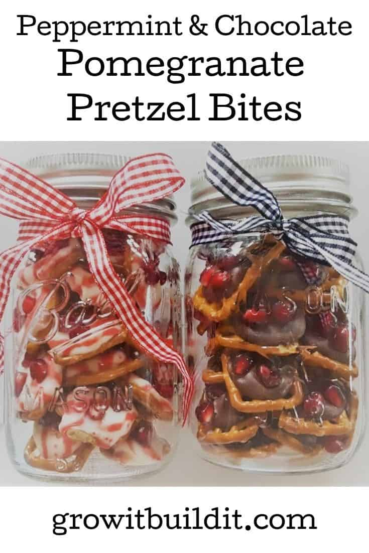 peppermint & chocolate pomegranate pretzel bites
