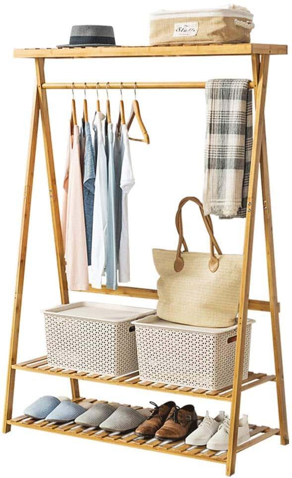Bamboo Garment Rack w 2 tier shoe organizer