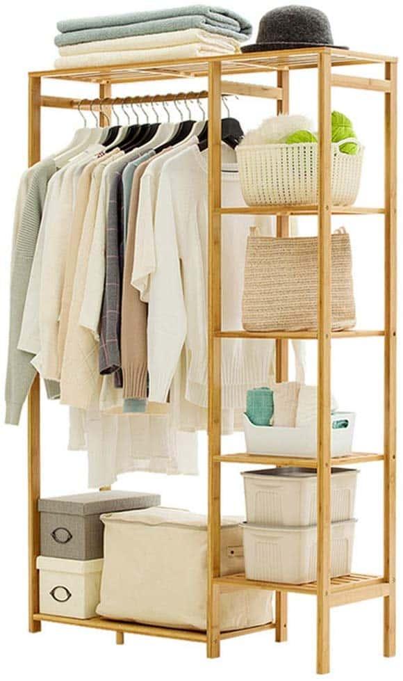 Bamboo Garment Rack 6 tier shelves