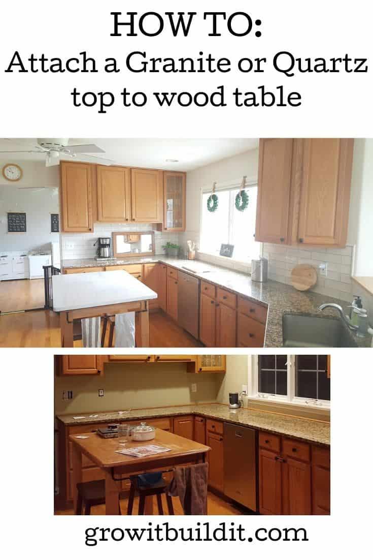 attach granite or quartz to wooden table