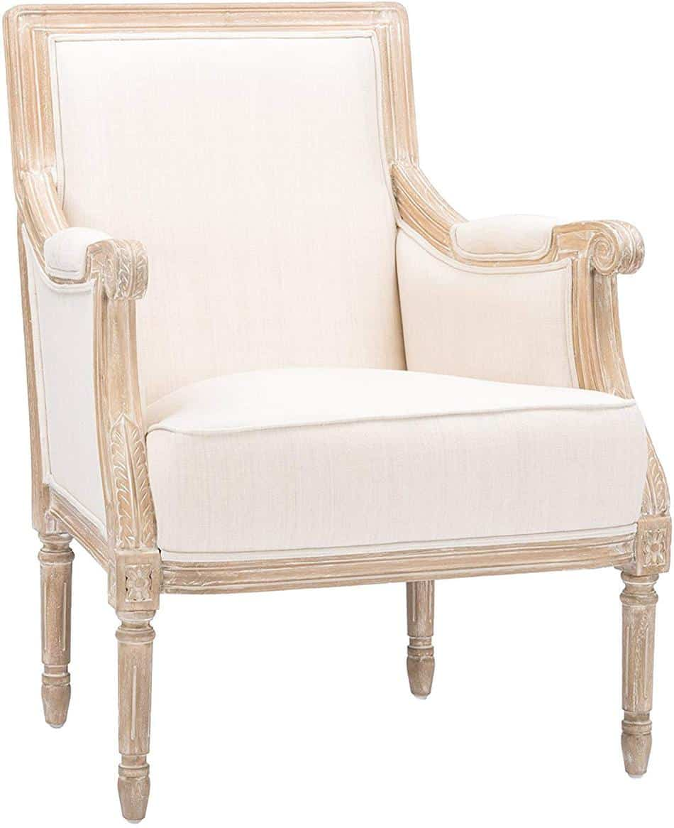 wood and linen accent chair