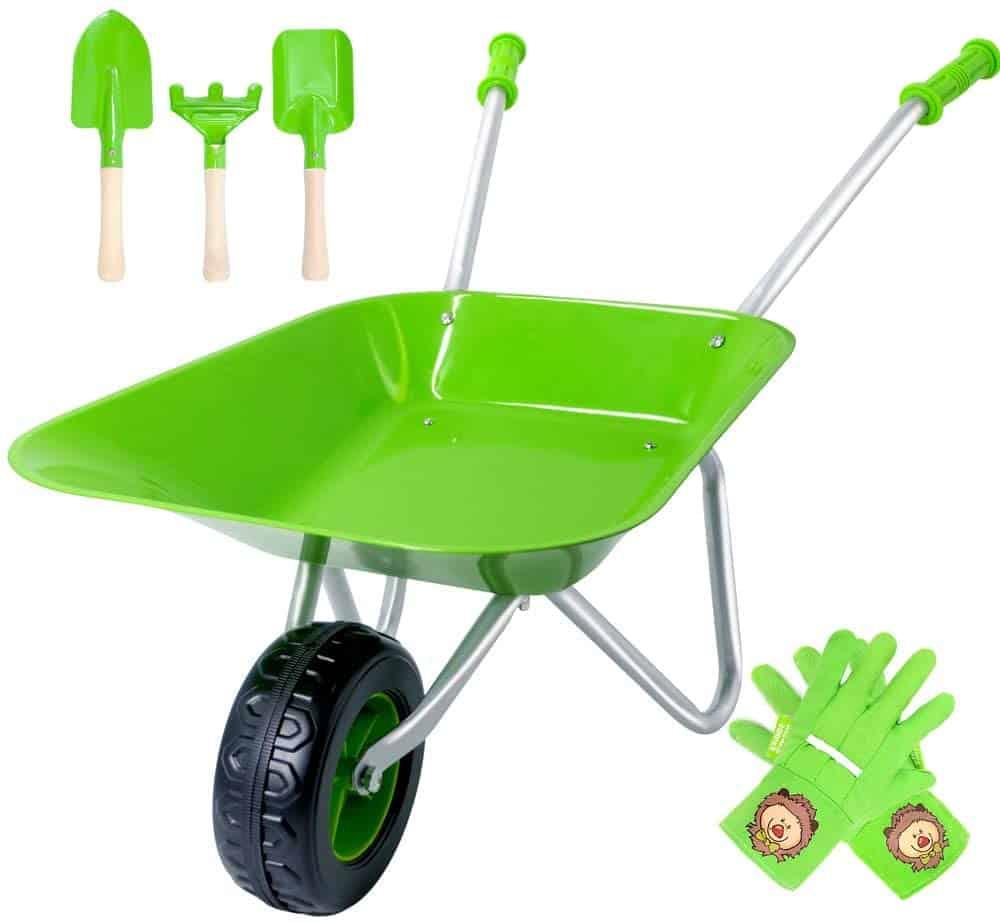 kids metal wheelbarrow with garden tools