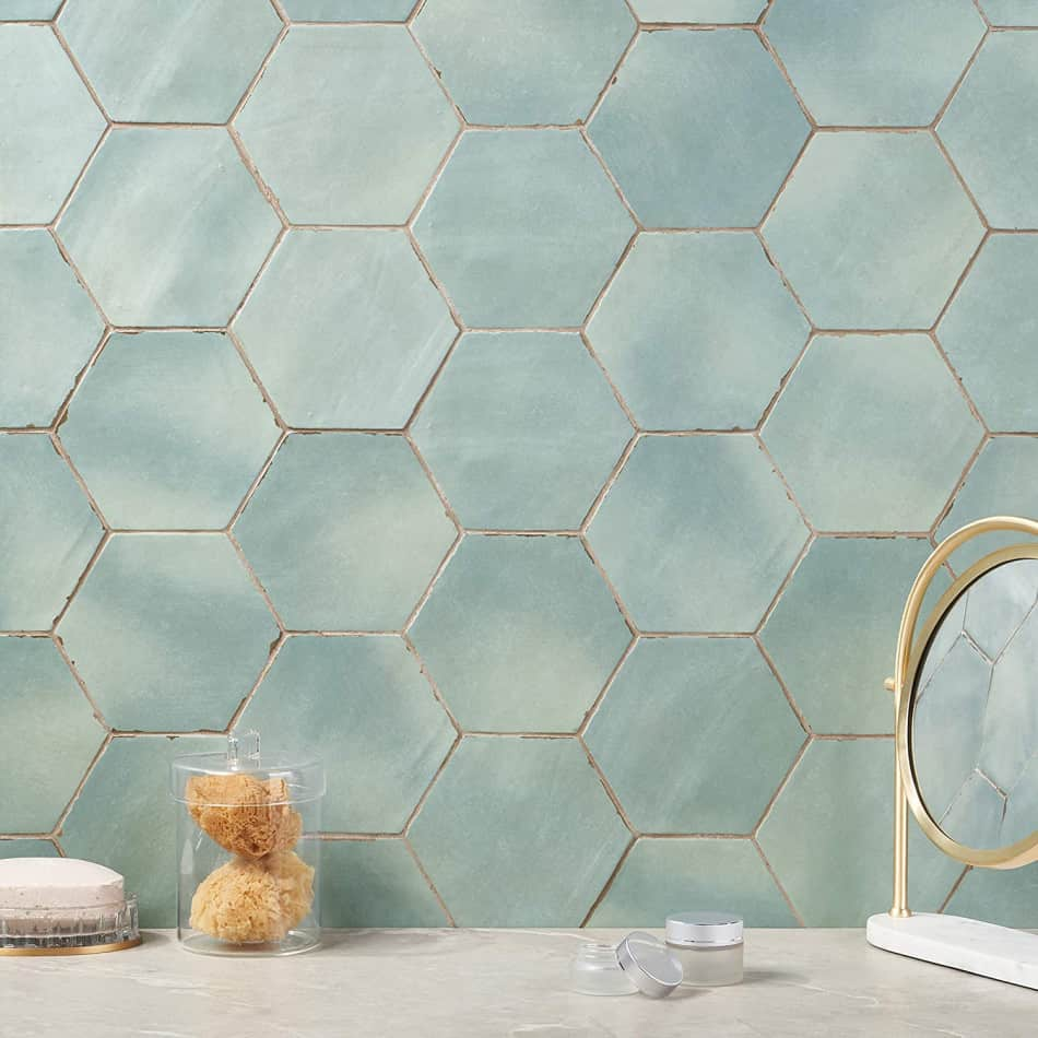 hexagon tile ocean blue