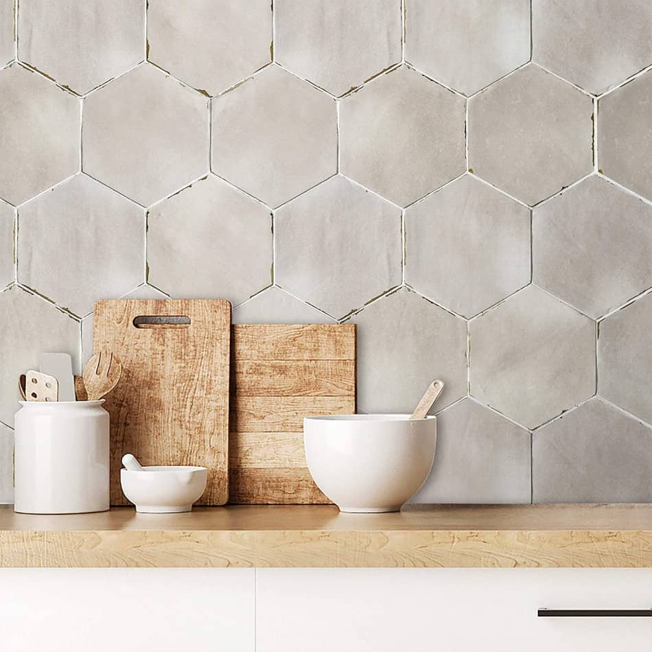 hexagon tile taupe