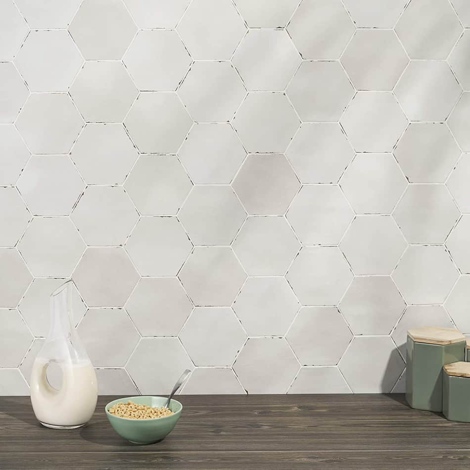 hexagon tile light grey