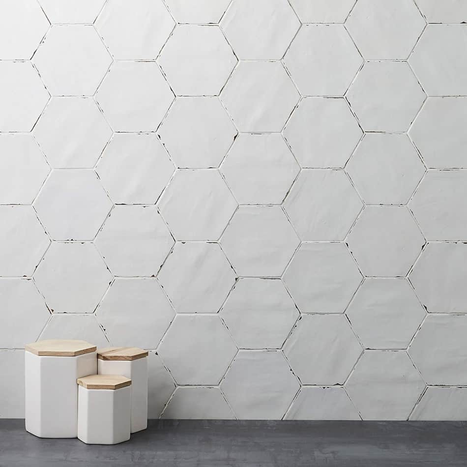 hexagon tile white