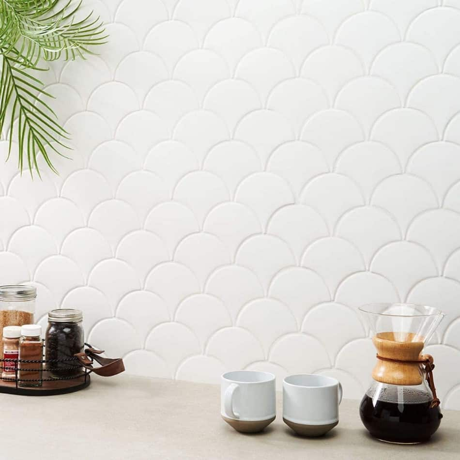 matte white fish scale tile